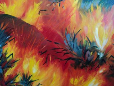Tűz 2011 olajfestmény 70x50