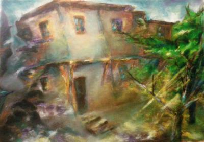 Lakatlan ház olajfestmény 70x50
